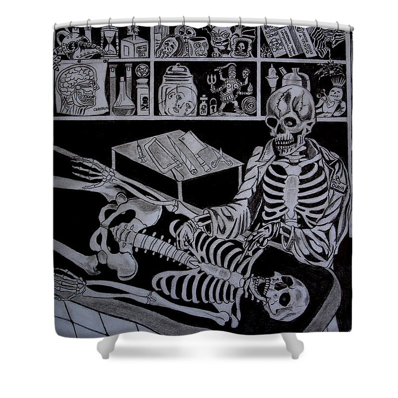 Horror Shower Curtain featuring the drawing Autopsy by Jose Mendez