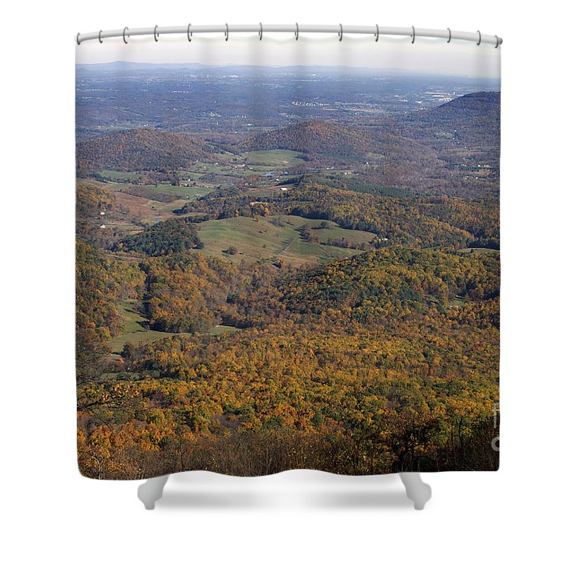 Scenic Tours Shower Curtain featuring the photograph Autumn Across The Shenandoah by Skip Willits