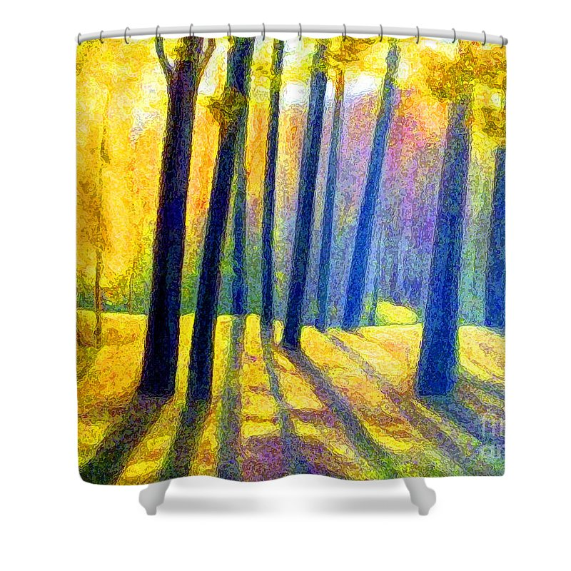 Landscape Shower Curtain featuring the digital art Autumn by Algirdas Lukas