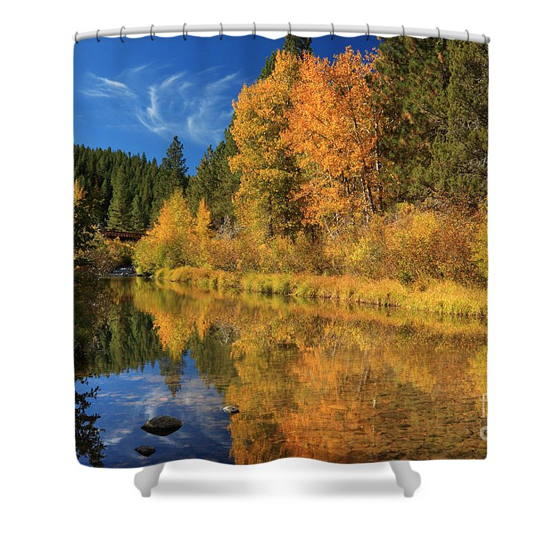 Autumn Shower Curtain featuring the photograph Autumn Along The Susan River by James Eddy