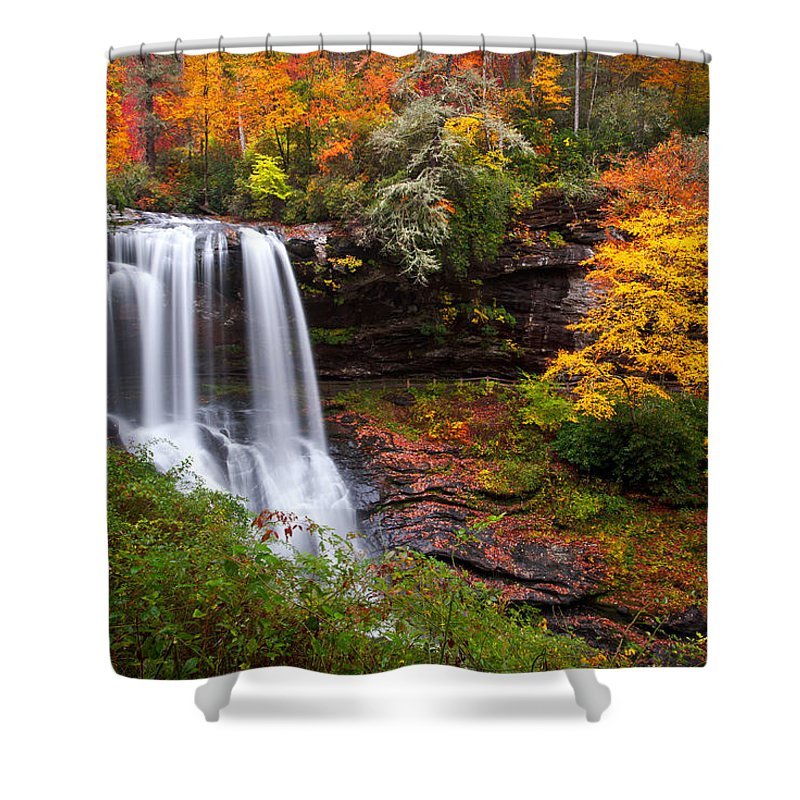 Waterfalls Shower Curtain featuring the photograph Autumn At Dry Falls - Highlands Nc Waterfalls by Dave Allen