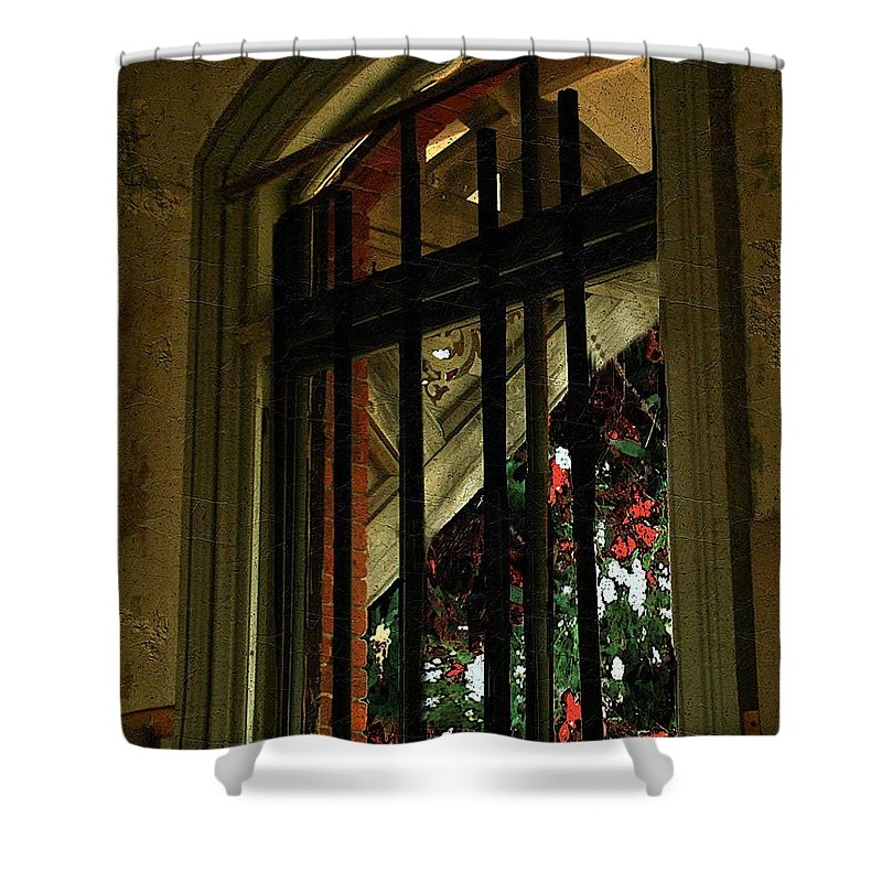Window Shower Curtain featuring the painting Autumn at the Old Sanitarium by RC DeWinter