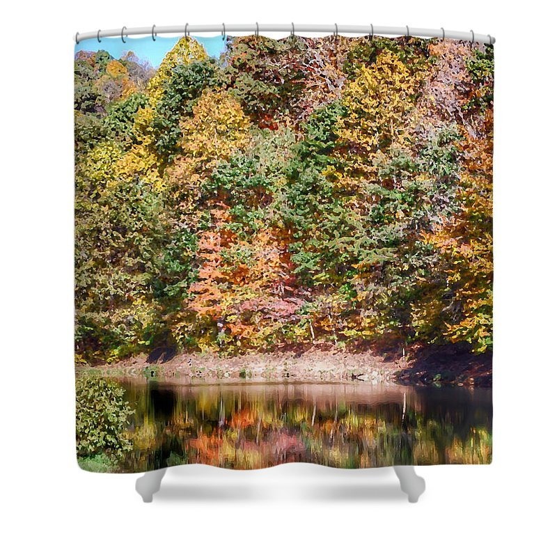 Autumn Shower Curtain featuring the photograph Autumn At The Pond by Kerri Farley