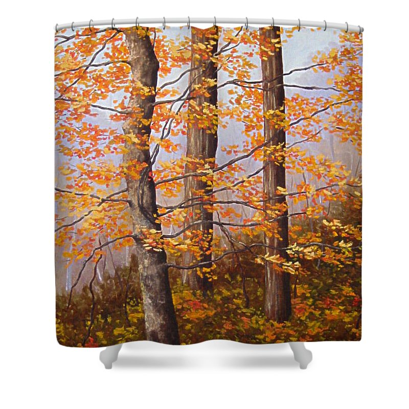 Autumn Shower Curtain featuring the painting Autumn At Tishomingo State Park by Darla Brock