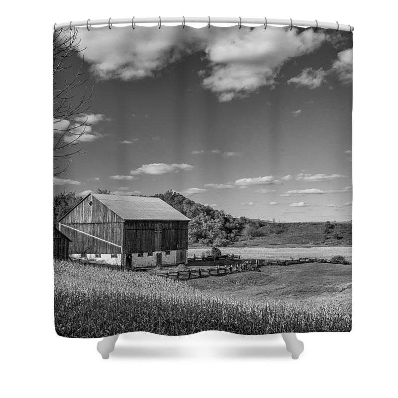 Steve Harrington Shower Curtain featuring the photograph Autumn Barn Monochrome by Steve Harrington