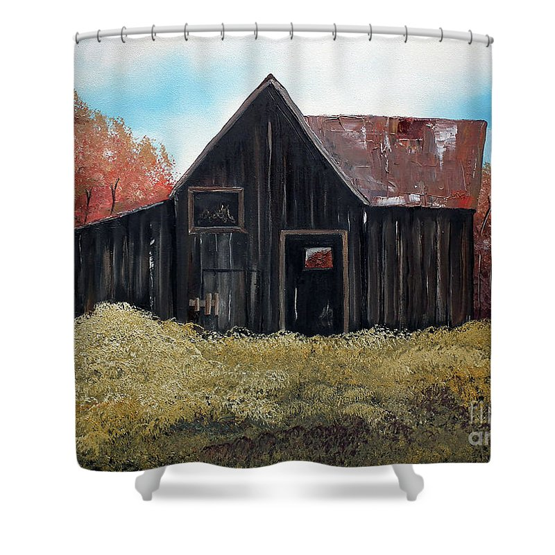 Autumn Barn Shower Curtain featuring the painting Autumn - Barn -orange by Jan Dappen