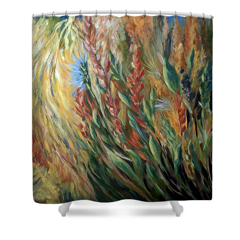 Autumn Floral Blooms Shower Curtain featuring the painting Autumn Bloom by Joanne Smoley