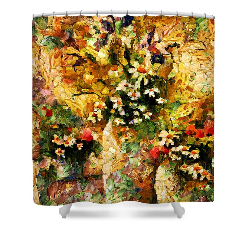 Abstract Shower Curtain featuring the mixed media Autumn Bounty - Abstract Expressionism by Georgiana Romanovna