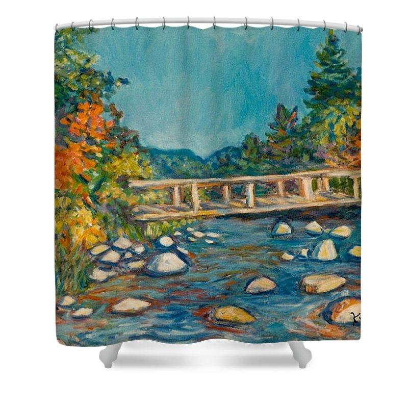Kendall Kessler Shower Curtain featuring the painting Autumn Bridge by Kendall Kessler