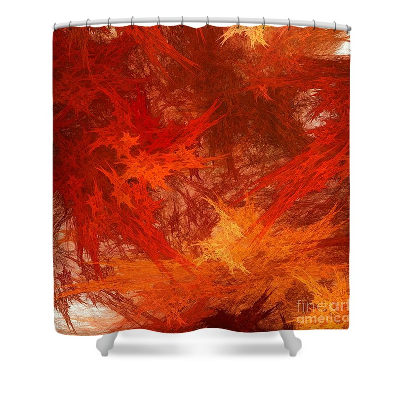 Autumn Shower Curtain featuring the digital art Autumn Fire by Elizabeth McTaggart