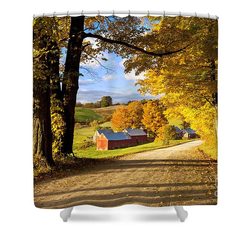 Autumn Shower Curtain featuring the photograph Autumn Farm In Vermont by Brian Jannsen