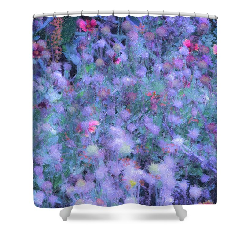 Blue Shower Curtain featuring the photograph Autumn Flowers In Blue by Angela Stanton