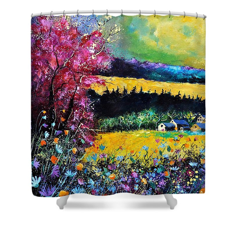 Landscape Shower Curtain featuring the painting Autumn Flowers by Pol Ledent