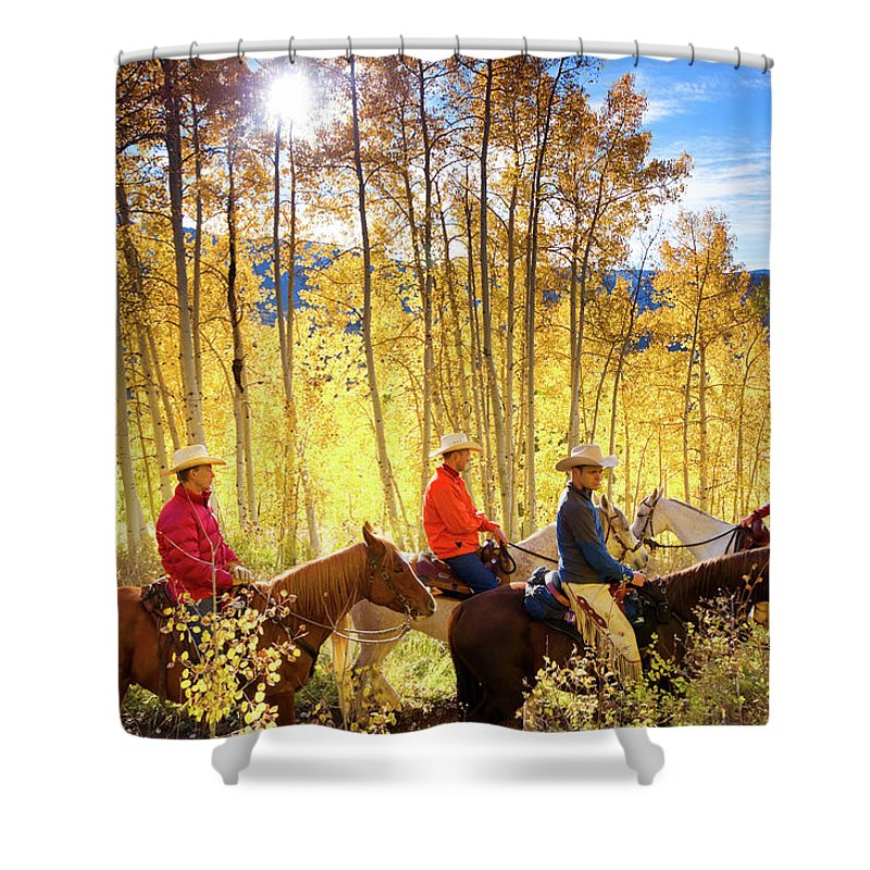 Horse Shower Curtain featuring the photograph Autumn Horseback Riding by Amygdala imagery