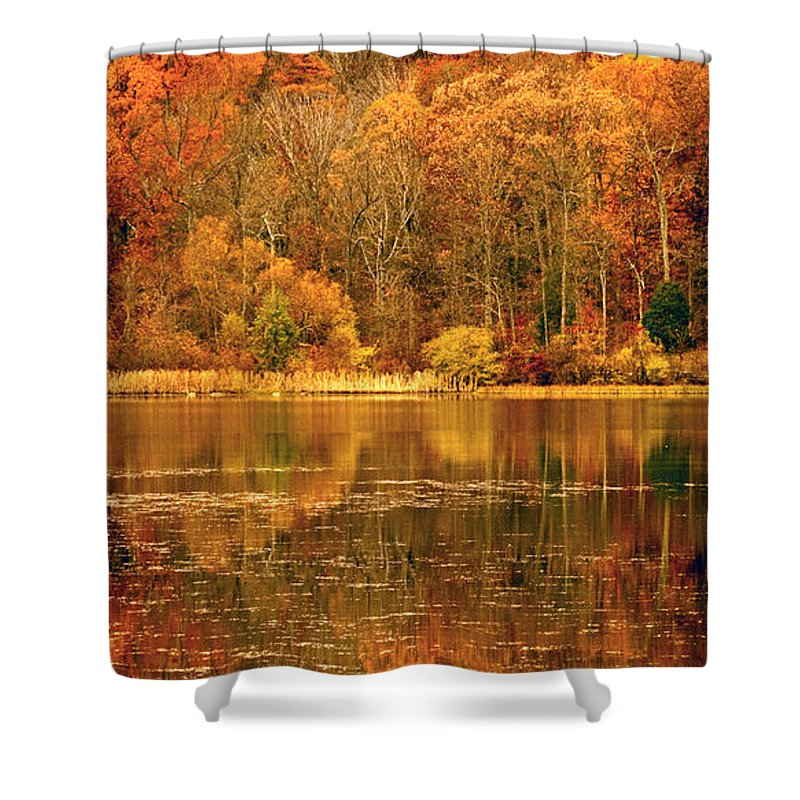 Water Shower Curtain featuring the photograph Autumn In Mirror Lake by Paul W Faust - Impressions of Light