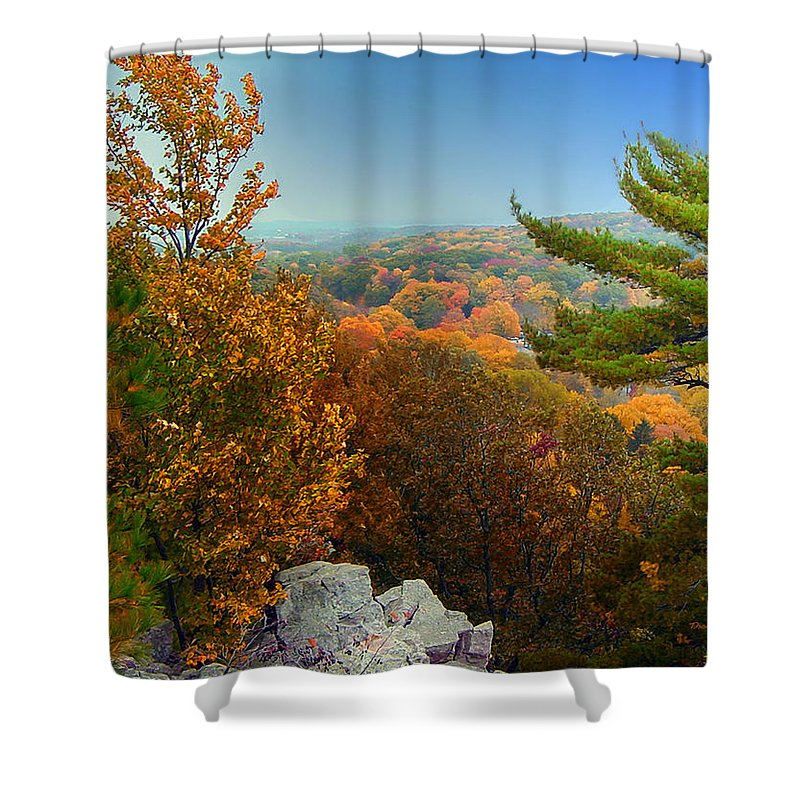 Autumn Shower Curtain featuring the photograph Autumn In The Valley by Thomas Woolworth