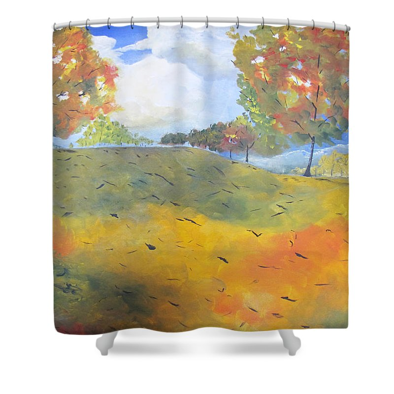Acrylic Shower Curtain featuring the painting Autumn Leaves Panel 2 Of 2 by Gary Smith