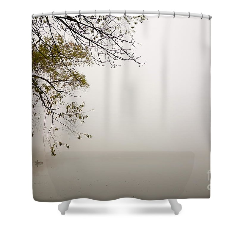 Fishing Shower Curtain featuring the photograph Autumn Mist by Jacqueline Athmann