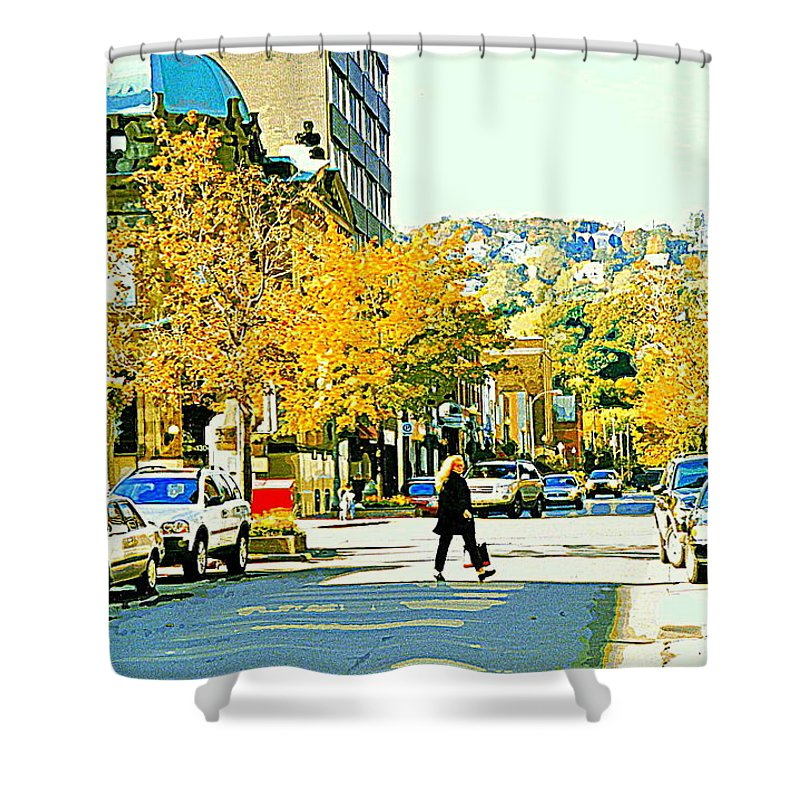 Montreal Shower Curtain featuring the painting Autumn On Mount Royal Greene Avenue Westmount Near Sherbrooke October Montreal City Scene by Carole Spandau