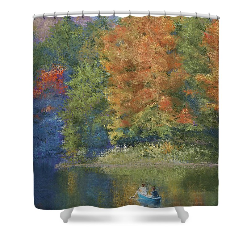 Autumn Shower Curtain featuring the pastel Autumn On The Lake by Marna Edwards Flavell