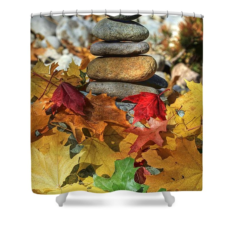 Zen Shower Curtain featuring the photograph Autumn On The Rocks 2 by Donna Kennedy