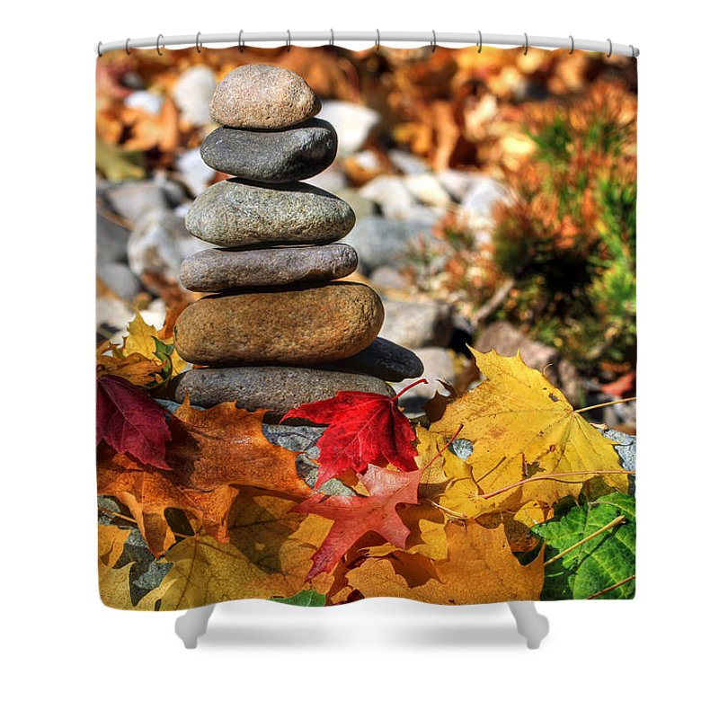 Cairn Shower Curtain featuring the photograph Autumn On The Rocks by Donna Kennedy