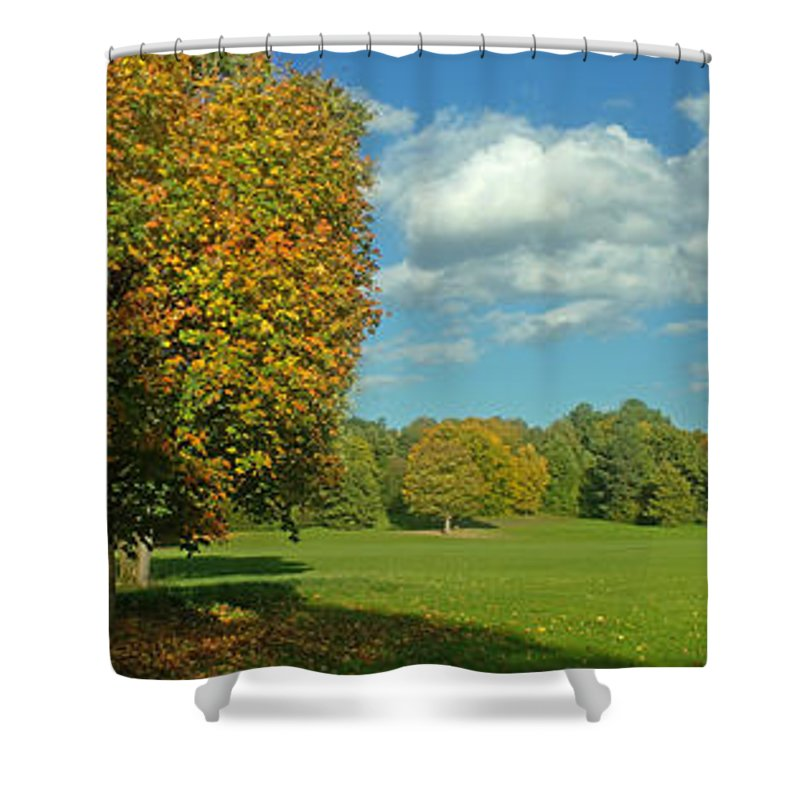 Nature Shower Curtain featuring the photograph Autumn Panorama 1 by Rudi Prott