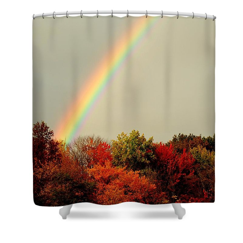 Autumn Shower Curtain featuring the photograph Autumn Rainbow by Frozen in Time Fine Art Photography
