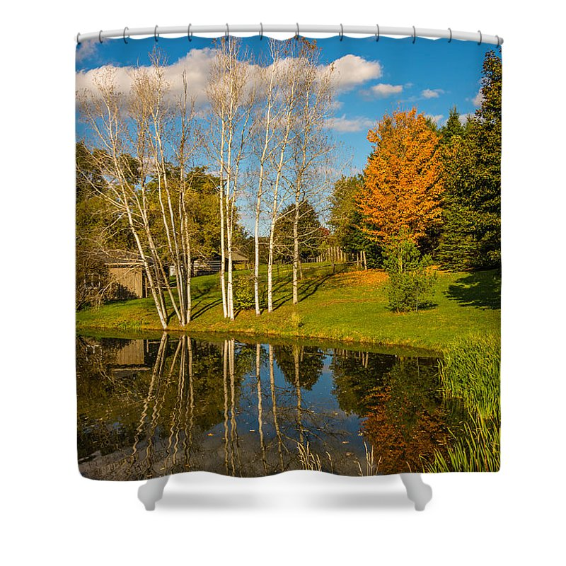 On A Drive-about Through The Autumn Splendor Of The Back Roads Near Bolton Shower Curtain featuring the photograph Autumn Reflecting by Steve Harrington