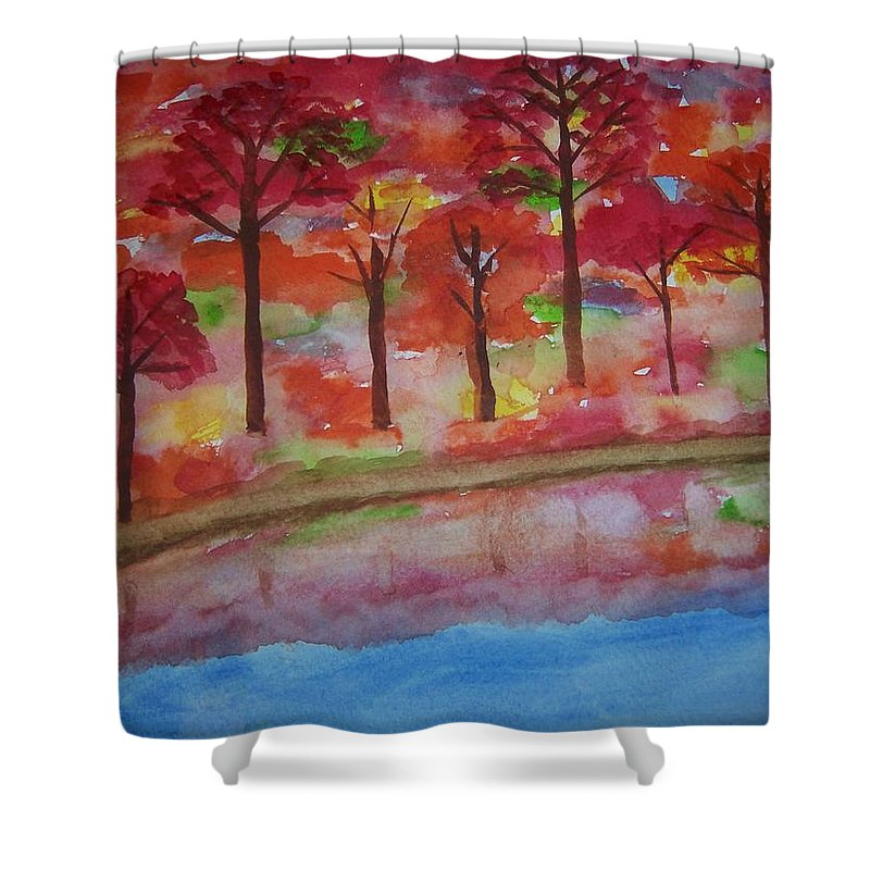 Autumn Shower Curtain featuring the painting Autumn Reflection by B Kathleen Fannin