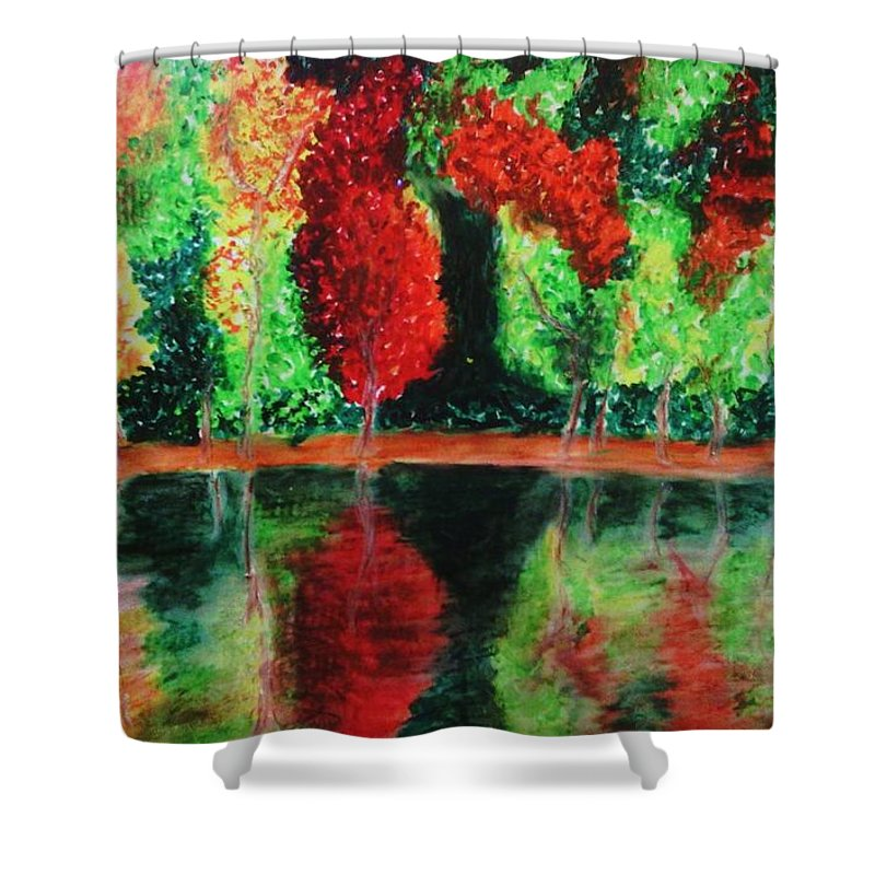 Autumn Shower Curtain featuring the drawing Autumn Reflection by Crystal Menicola