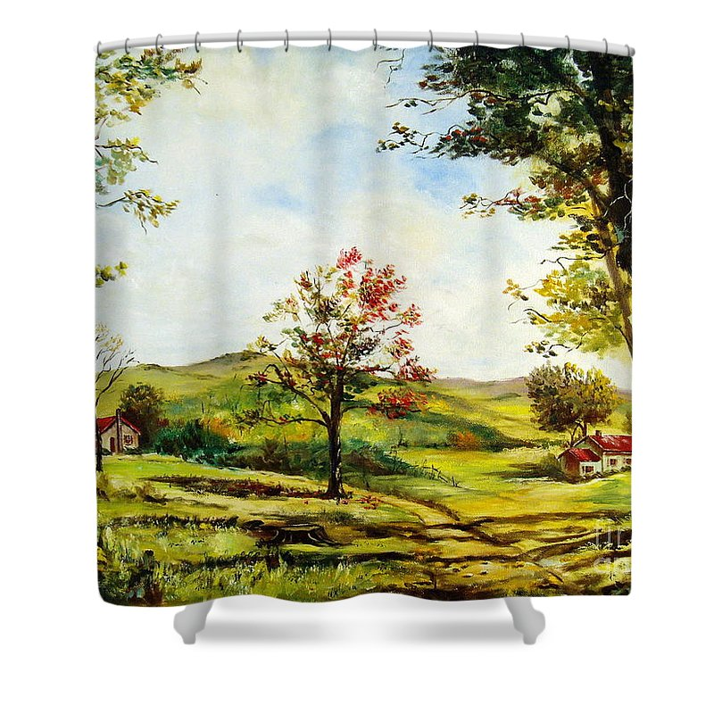 Landscape Shower Curtain featuring the painting Autumn Road by Lee Piper