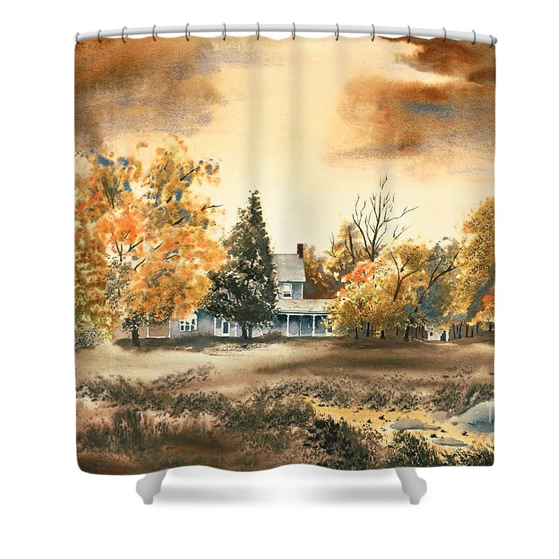 Autumn Sky No W103 Shower Curtain featuring the painting Autumn Sky No W103 by Kip DeVore