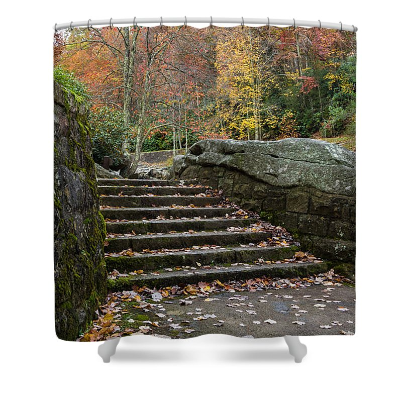 Babcock State Park Shower Curtain featuring the photograph Autumn Stone Staircase by Lori Coleman