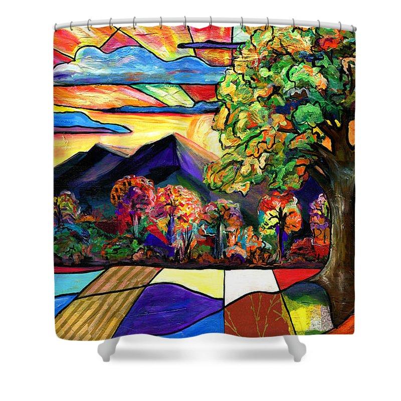 Everett Spruill Shower Curtain featuring the painting Autumn Sunrise by Everett Spruill