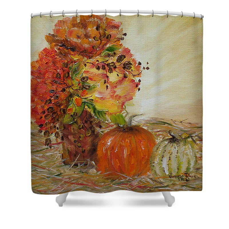 Autumn Shower Curtain featuring the painting Autumn Sunrise by Judith Rhue