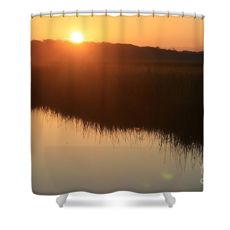 Sunrise Shower Curtain featuring the photograph Autumn Sunrise Over The Marsh by Nadine Rippelmeyer