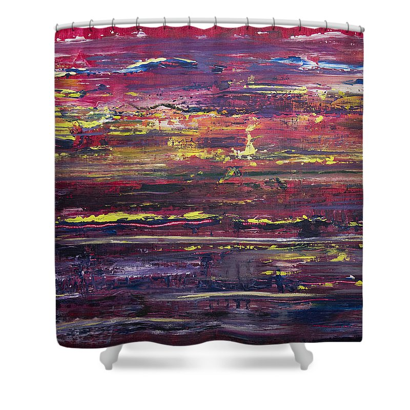 Sunset Shower Curtain featuring the painting Autumn Sunset Along I-70 by Laura Evans