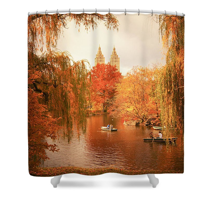 Autumn Shower Curtain Featuring The Photograph Trees
