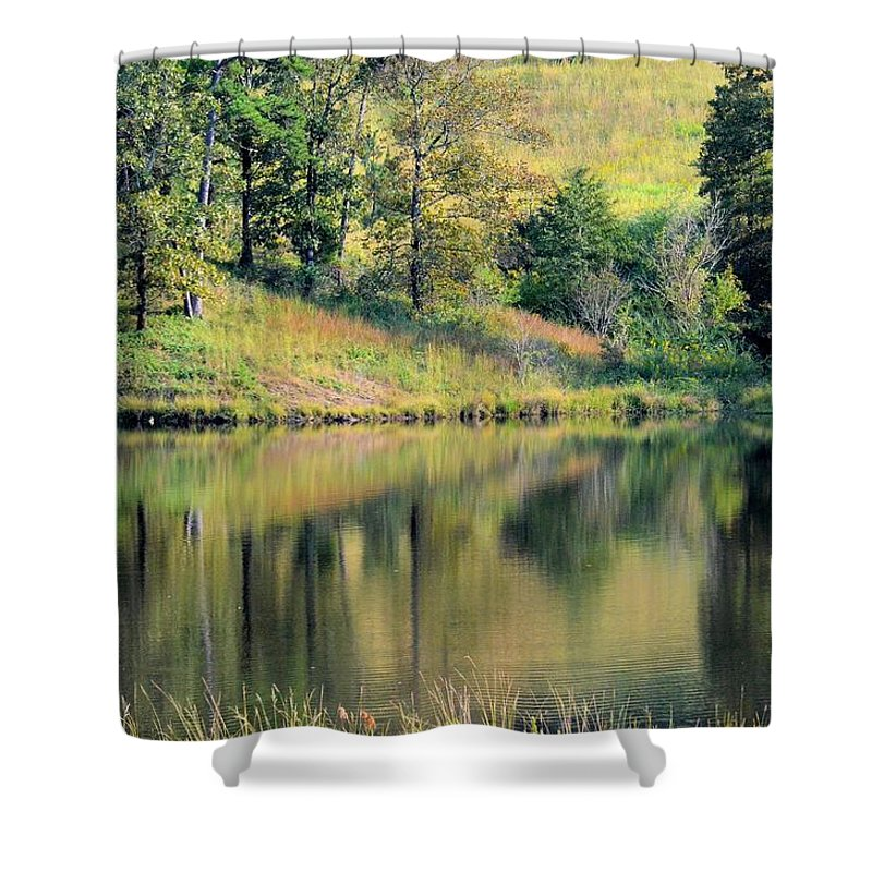 Autumn's Golden Peace Shower Curtain featuring the photograph Autumn's Golden Peace by Maria Urso