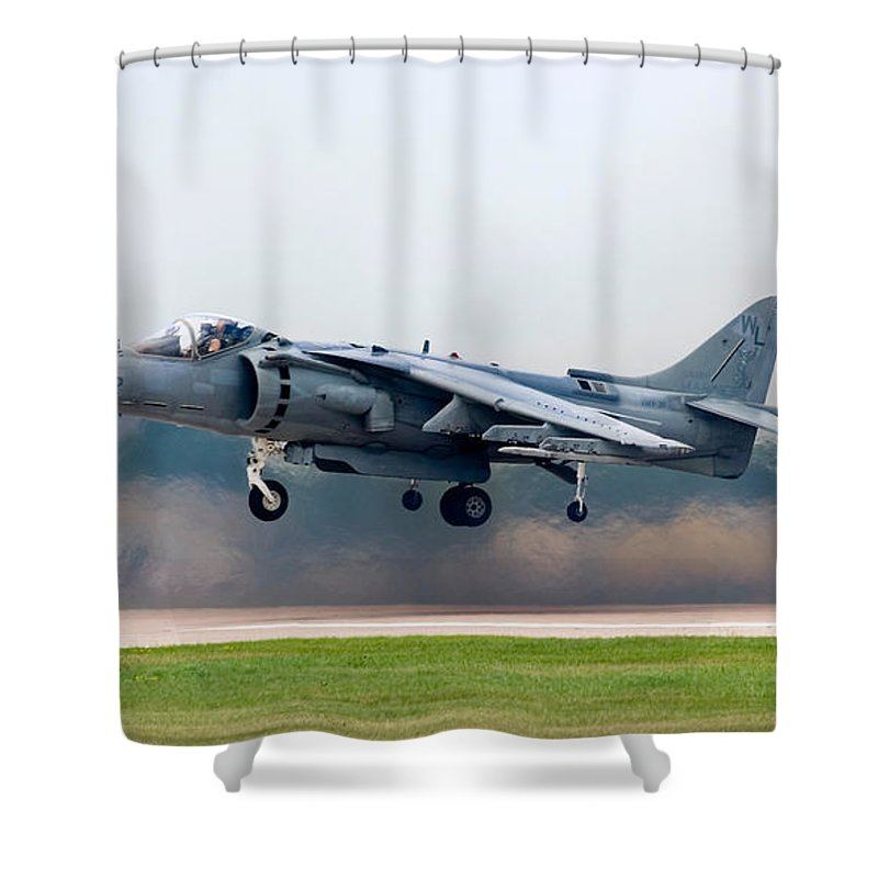 3scape Photos Shower Curtain featuring the photograph Av-8b Harrier by Adam Romanowicz