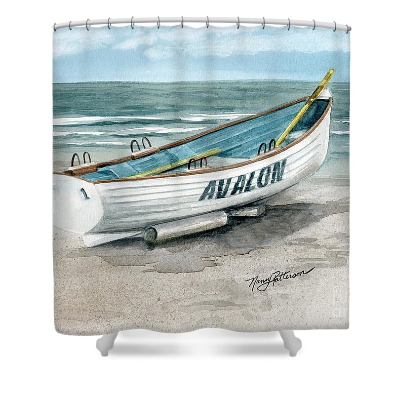c094fc76a254 Lifeguard Boat Shower Curtain featuring the painting Avalon Lifeguard Boat  by Nancy Patterson
