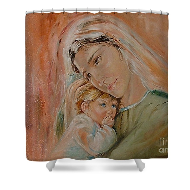 Classic Art Shower Curtain featuring the painting Ave Maria by Silvana Abel