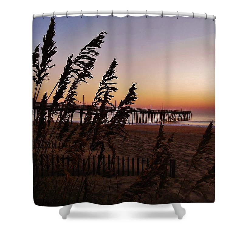 Mark Lemmon Cape Hatteras Nc The Outer Banks Photographer Subjects From Sunrise Shower Curtain featuring the photograph Avon Pier 1 10/2 by Mark Lemmon