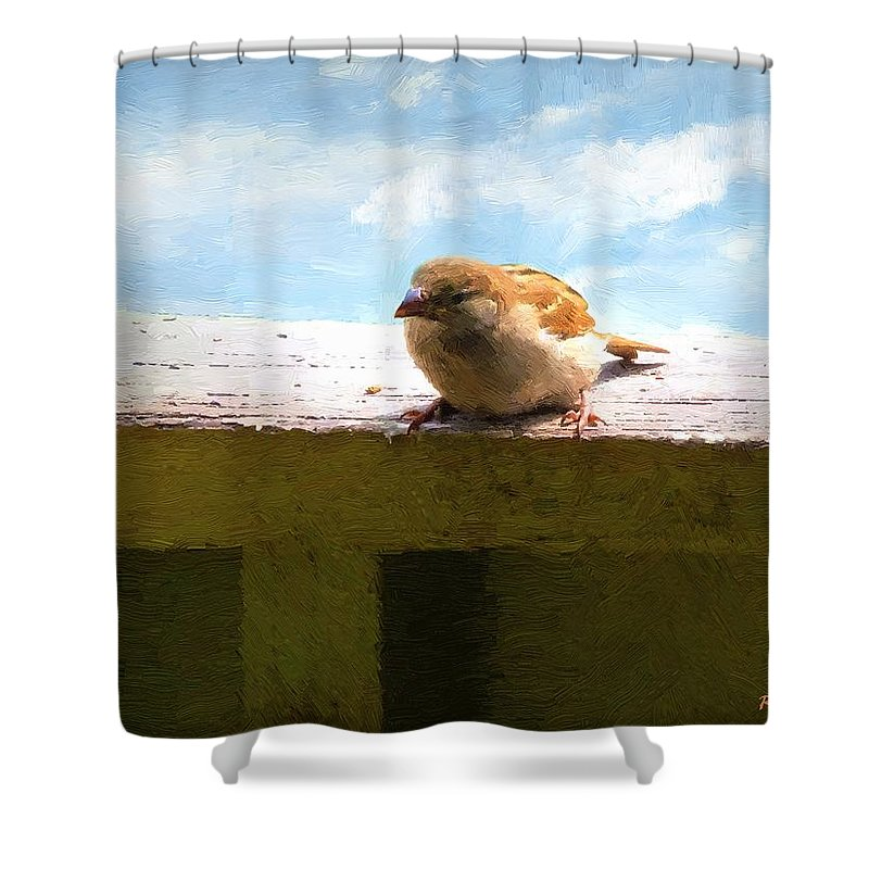 Bird Shower Curtain featuring the painting Aw Shucks by RC DeWinter