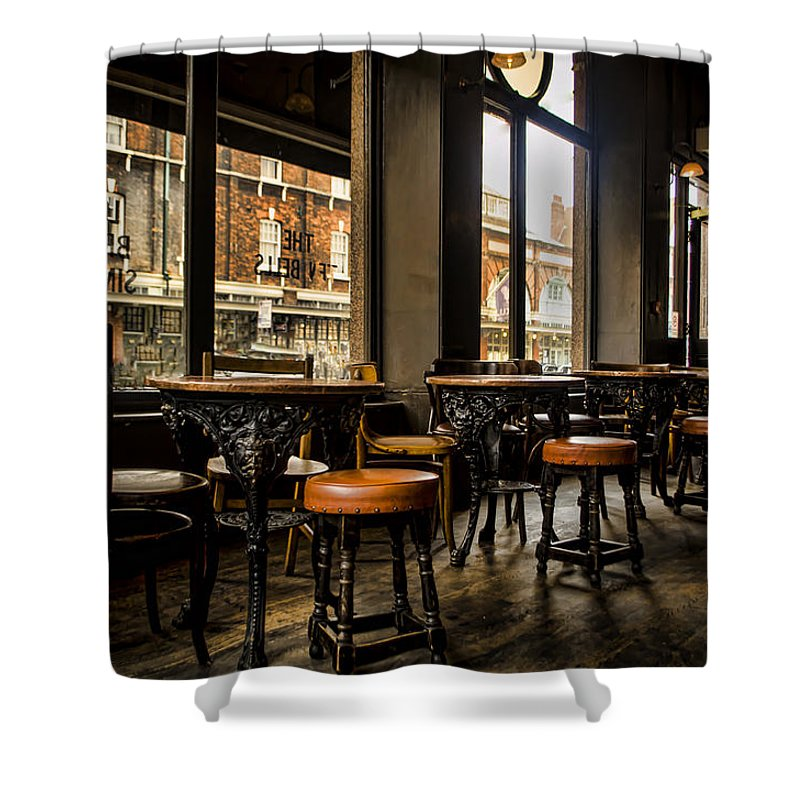 Barstools Shower Curtain featuring the photograph Awaiting Patrons by Heather Applegate