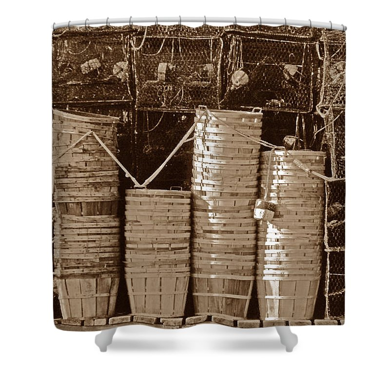 Maritime Shower Curtain featuring the photograph Awaiting The Season by Skip Willits