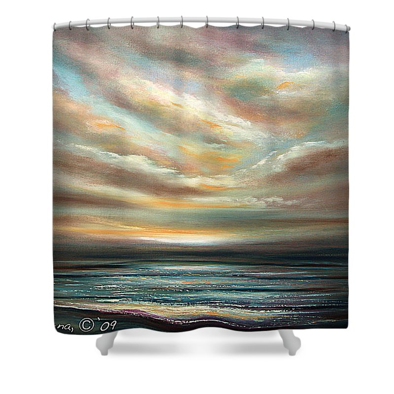 Sunset Shower Curtain featuring the painting Away by Gina De Gorna
