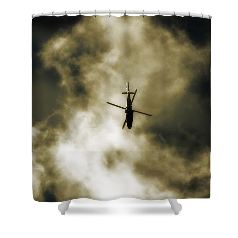 Agustawestland Aw109 Shower Curtain featuring the photograph Away by Paul Job