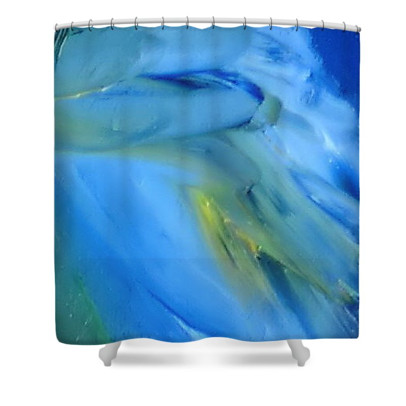 Modern Shower Curtain featuring the painting Azul by Reina Resto